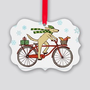 dogsquirrelholidayCP Picture Ornament