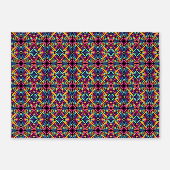 Southwest Art Deco Stained Glass 5'x7'Area Rug