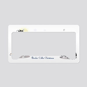 border collie clear Christmas License Plate Holder