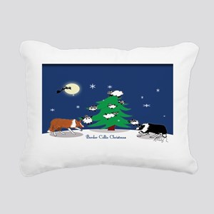 border collie christmas  Rectangular Canvas Pillow