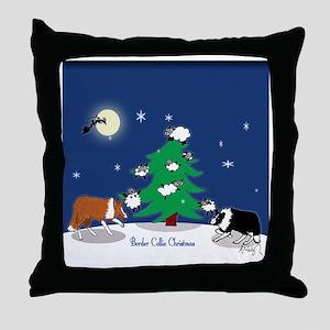 border collie christmas framed tile Throw Pillow