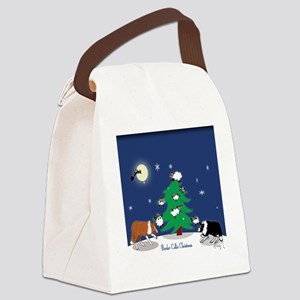 border collie christmas framed ti Canvas Lunch Bag