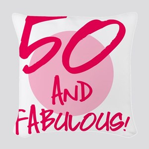50 And Fabulous Woven Throw Pillow