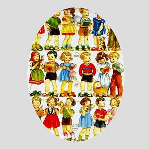 Vintage German Paper Dolls Oval Ornament
