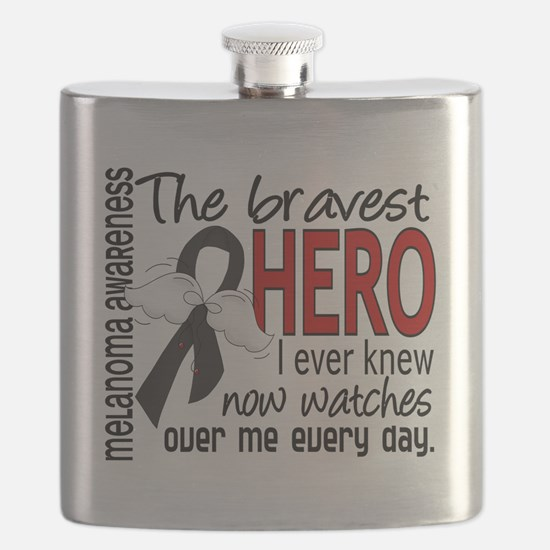 D Melanoma Bravest Hero I Ever Knew Flask