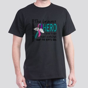 D Thyroid Cancer Bravest Hero I Ever  Dark T-Shirt