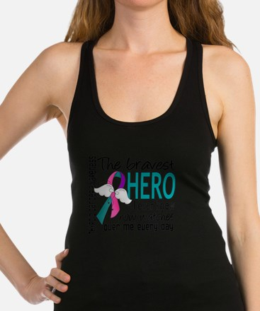 D Thyroid Cancer Bravest Hero I Racerback Tank Top