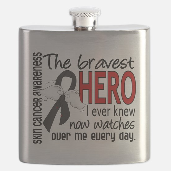 D Skin Cancer Bravest Hero I Ever Knew Flask