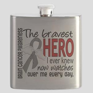 D Brain Cancer Bravest Hero I Ever Knew Flask