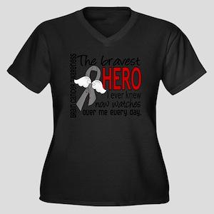 D Brain Canc Women's Plus Size Dark V-Neck T-Shirt