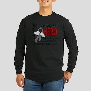 D Brain Cancer Bravest He Long Sleeve Dark T-Shirt