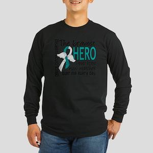 D Cervical Cancer Bravest Long Sleeve Dark T-Shirt
