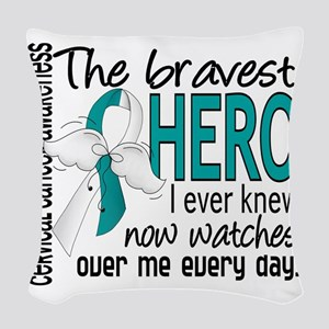 D Cervical Cancer Bravest Hero Woven Throw Pillow
