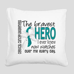 D Cervical Cancer Bravest Her Square Canvas Pillow