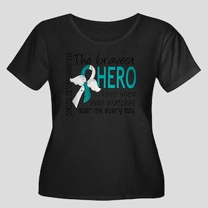 D Cervic Women's Plus Size Dark Scoop Neck T-Shirt