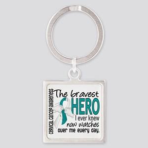 D Cervical Cancer Bravest Hero I E Square Keychain