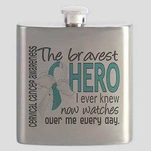 D Cervical Cancer Bravest Hero I Ever Knew Flask