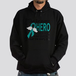 D Ovarian Cancer Bravest Hero I Ever Hoodie (dark)