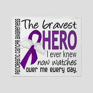 D Pancreatic Cancer Bravest Hero I E Throw Blanket
