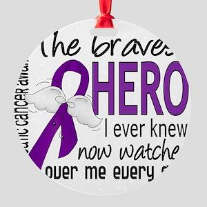 D Pancreatic Cancer Bravest Hero I  Round Ornament