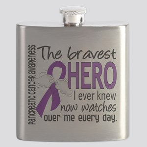 D Pancreatic Cancer Bravest Hero I Ever Knew Flask