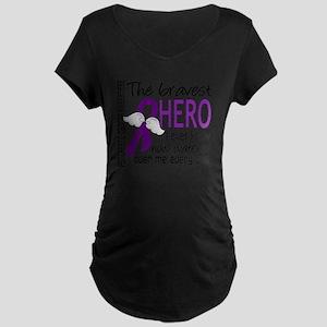D Pancreatic Cancer Bravest Maternity Dark T-Shirt