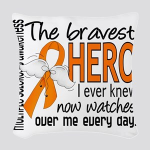 D Multiple Sclerosis Bravest H Woven Throw Pillow