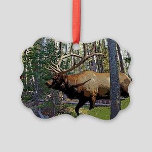 Bull elk in pines 5 Picture Ornament