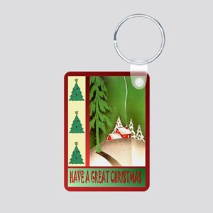 Winter village Aluminum Photo Keychain