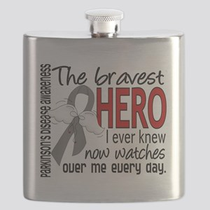 D Parkinsons Disease Bravest Hero I Ever Kne Flask