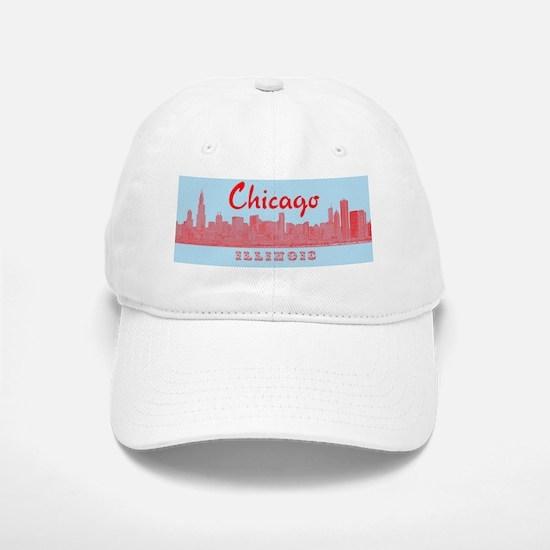 Chicago_5x3_sticker_Skyline Baseball Baseball Cap