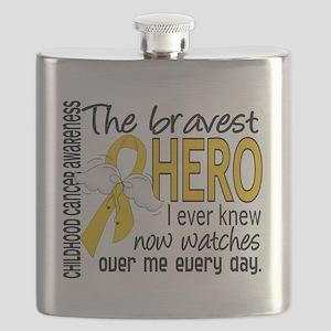 D Childhood Cancer Bravest Hero I Ever Knew Flask