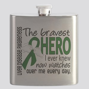 D Liver Disease Bravest Hero I Ever Knew Flask