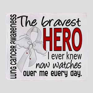D Lung Cancer Bravest Hero I Ever Kn Throw Blanket