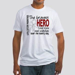 D Lung Cancer Bravest Hero I Ever K Fitted T-Shirt