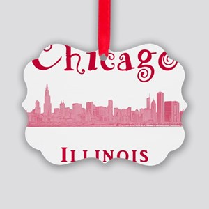Chicago_10x10_Skyline2_Red Picture Ornament