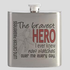 D Lung Cancer Bravest Hero I Ever Knew Flask