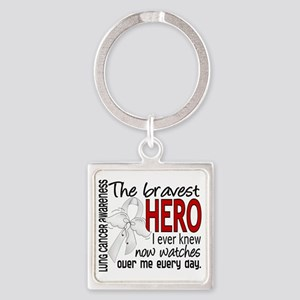 D Lung Cancer Bravest Hero I Ever  Square Keychain