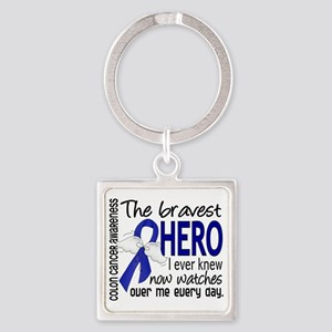 D Colon Cancer Bravest Hero I Ever Square Keychain