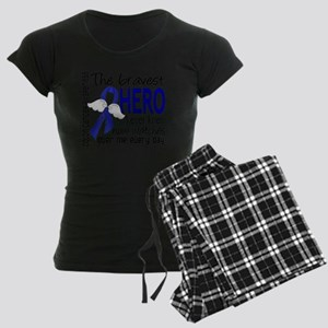 D Colon Cancer Bravest Hero  Women's Dark Pajamas