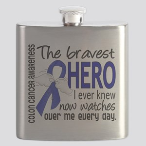 D Colon Cancer Bravest Hero I Ever Knew Flask