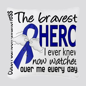 D Colon Cancer Bravest Hero I  Woven Throw Pillow