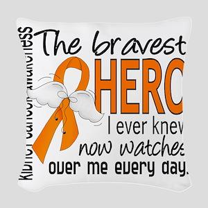 D Kidney Cancer Bravest Hero I Woven Throw Pillow