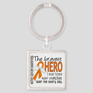 D Kidney Cancer Bravest Hero I Eve Square Keychain