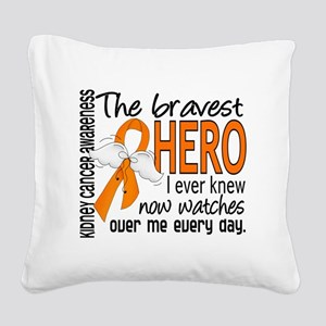 D Kidney Cancer Bravest Hero  Square Canvas Pillow