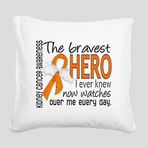 D Kidney Cancer Bravest Hero  Square Canvas Pillow