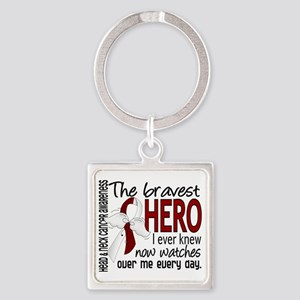 D Head and Neck Cancer Bravest Her Square Keychain
