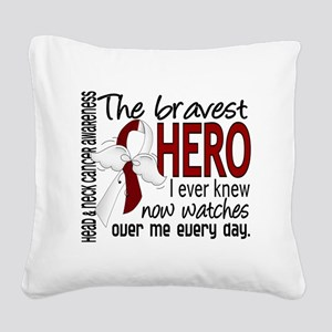 D Head and Neck Cancer Braves Square Canvas Pillow