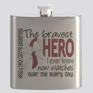 D Head and Neck Cancer Bravest Hero I Ever K Flask