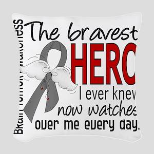 D Brain Tumor Bravest Hero I E Woven Throw Pillow